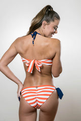 Sailor Dreams Bandeau with Straps Swimsuit - Persimmon Orange Stripe and Navy Set