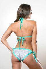 Sequin Bikini - Iridescent Silver with Seafoam Mint Ruffle Swimsuit Set