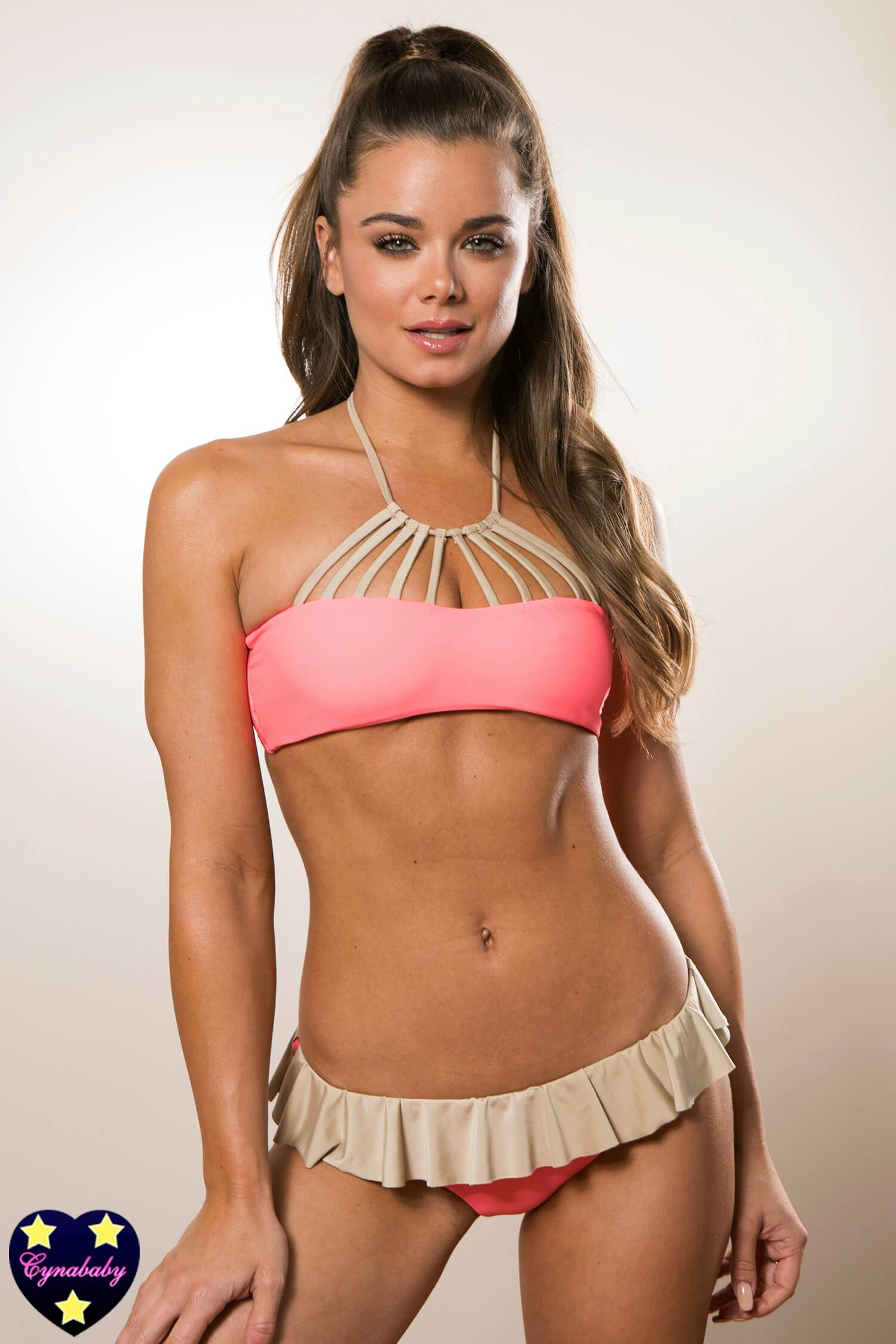 Strappy Bandeau with Tutu Skirt Bottom - Coral Golden Beige Set
