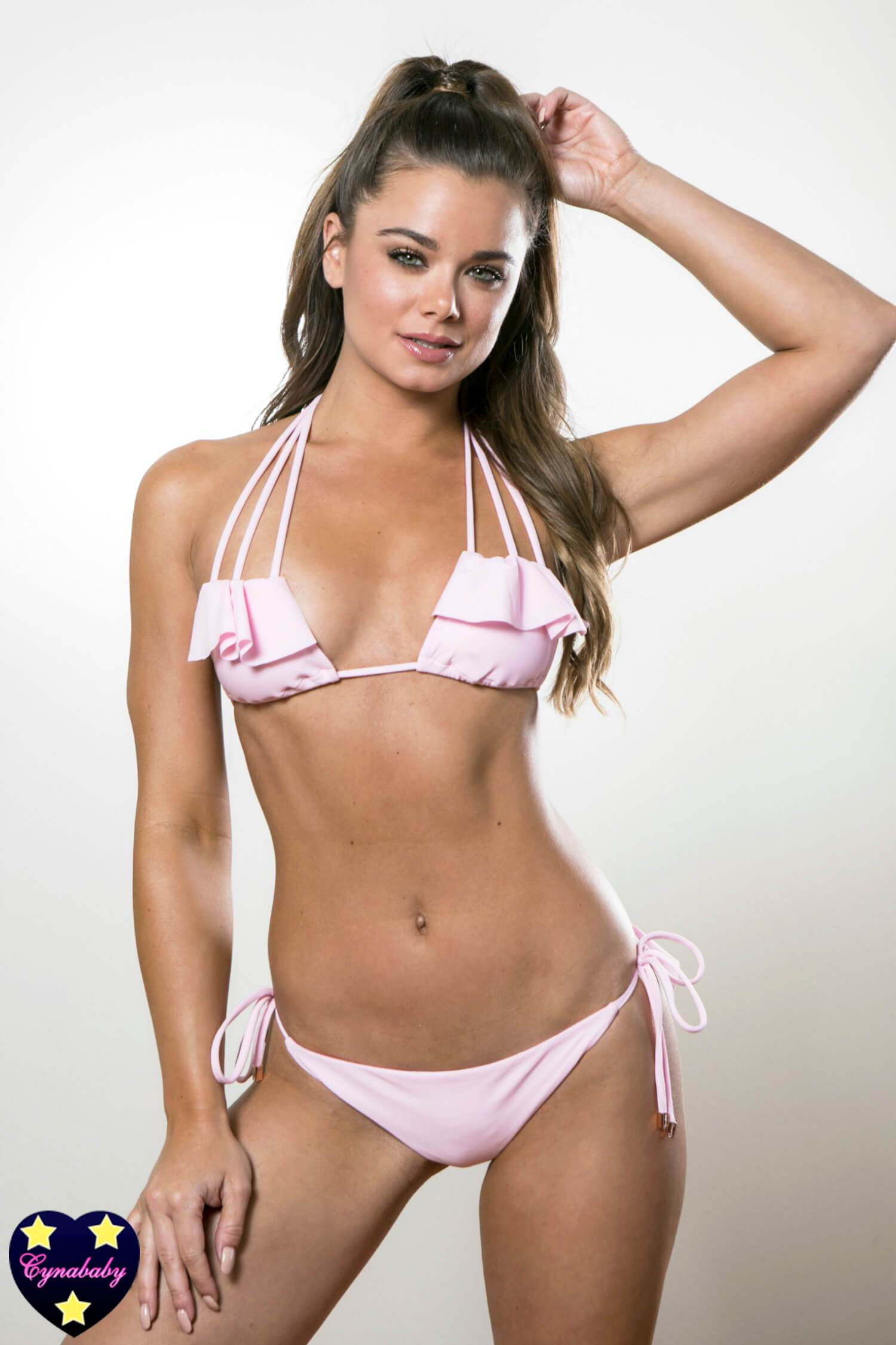 Strappy Ruffled Booty Bikini - Light Pink Swimsuit Set