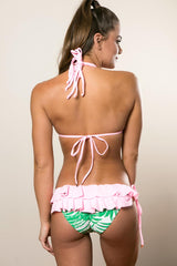 Strappy Ruffled Booty Bikini - White Pink Floral Swimsuit Set