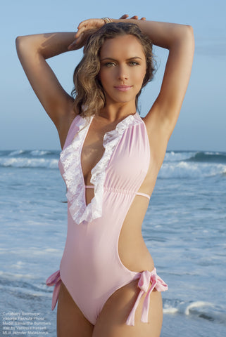 Ruffled Lace One Piece Swimsuit Baby Pink White Back Bow Monokini