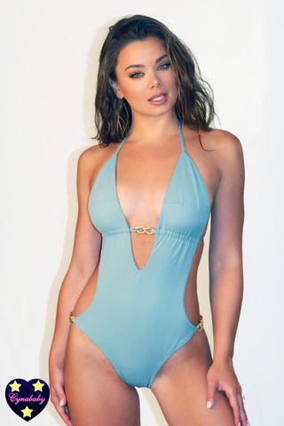 Custom Monokini One Piece Swimsuit - Waterfall Sage