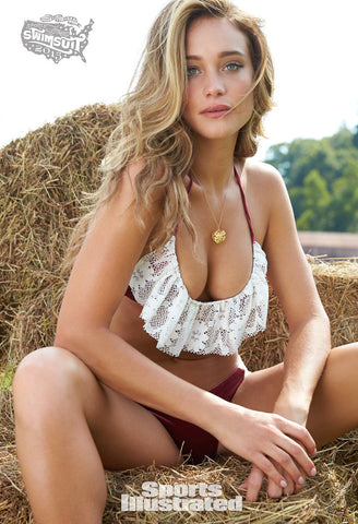 Burgundy and Ivory Crochet Lace Bikini