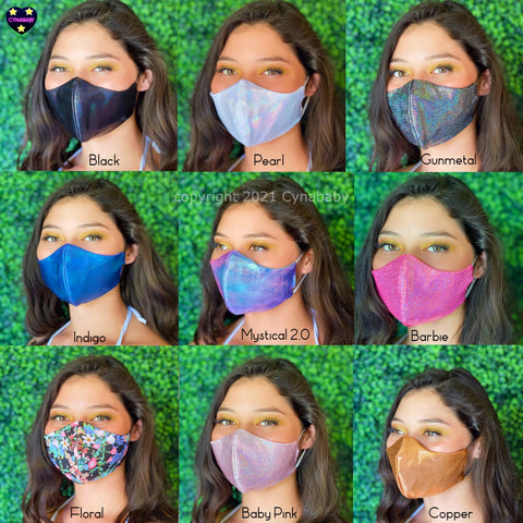 Iridescent Sparkly Masks 2 Pack - SHIPS FAST! USA made Fitted 3 layer Glitter Mask