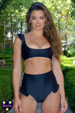 2019 Frill High Waist Swimsuit Set - Black