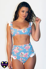 Frill High Waist Swimsuit Set - Blue Floral