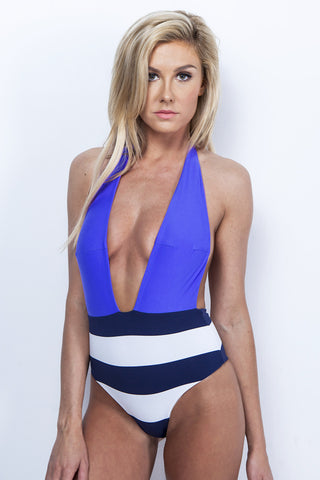 High Waist One-Piece Nautical Halter Swimsuit - Royal Blue and Navy Stripe