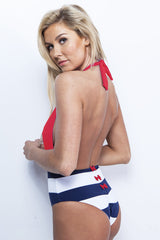 High Waist One-Piece Nautical Halter Swimsuit - Red and Navy Stripe