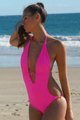 Miami Custom One-Piece Swimsuit - Neon Pink Monokini