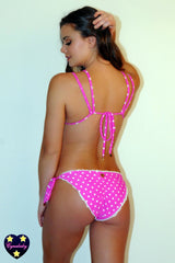 2019 Hot Pink Polka Dot with White Crochet Ruffle Bikini Set