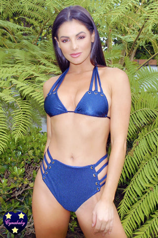 High Waist Strappy Eyelet Swimsuit Set - Navy Blue Ribbed