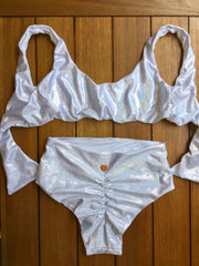 Sparkle High Waist Swimsuit Set - Pearl White Sparkly