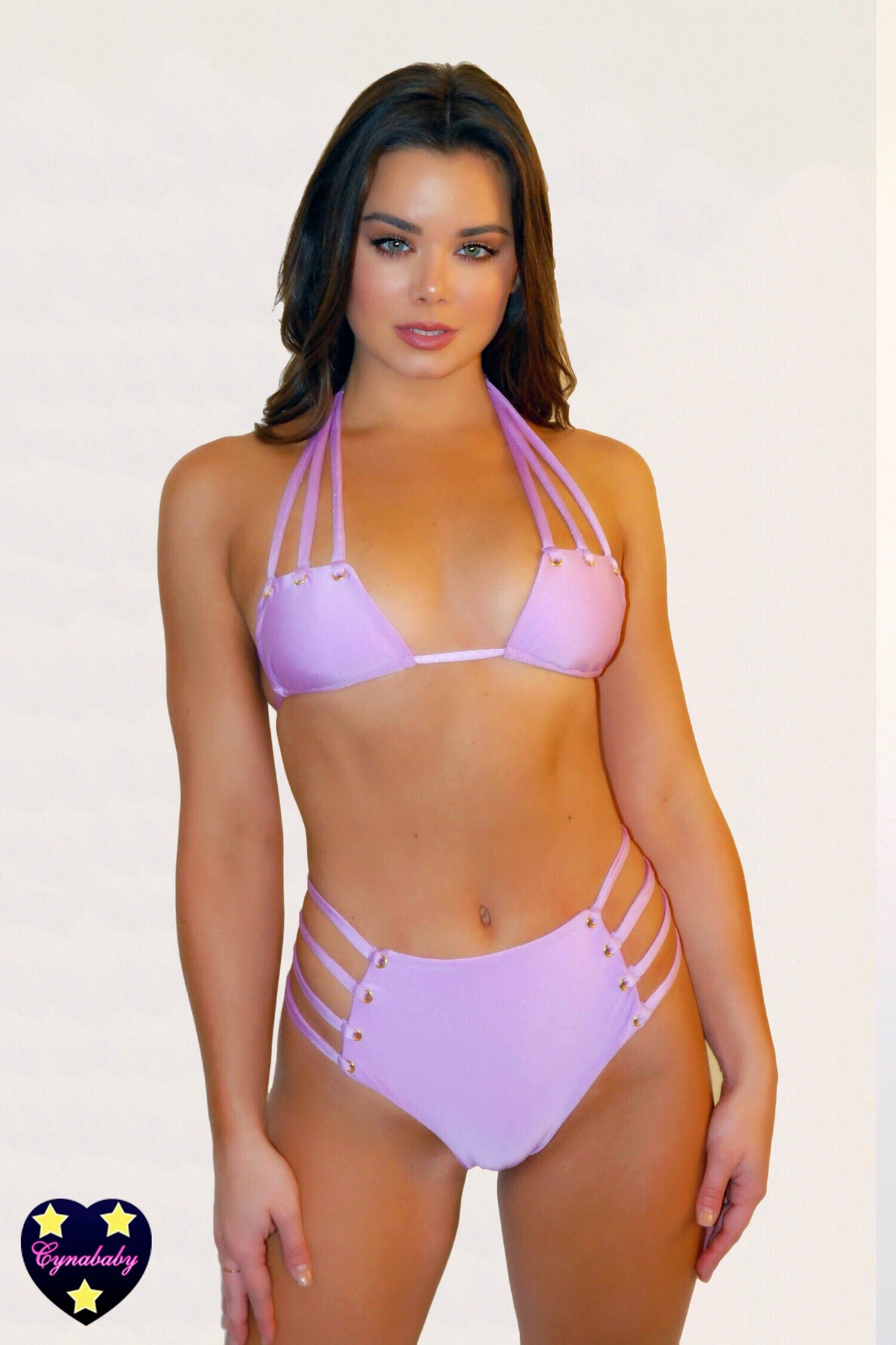 High Waist Strappy Eyelet Swimsuit Set - Orchid Pastel