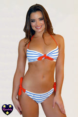 2019 Striped Bikini Set - Royal White Bandeau Bikini with Persimmon Orange