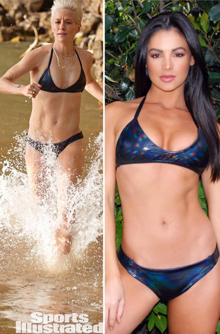 As seen on sports illustrated - Metallic Black Iridescent Swimsuit Set