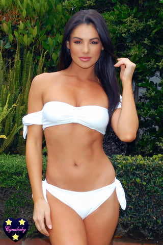 Bandeau Off Shoulder Swimsuit Set - White