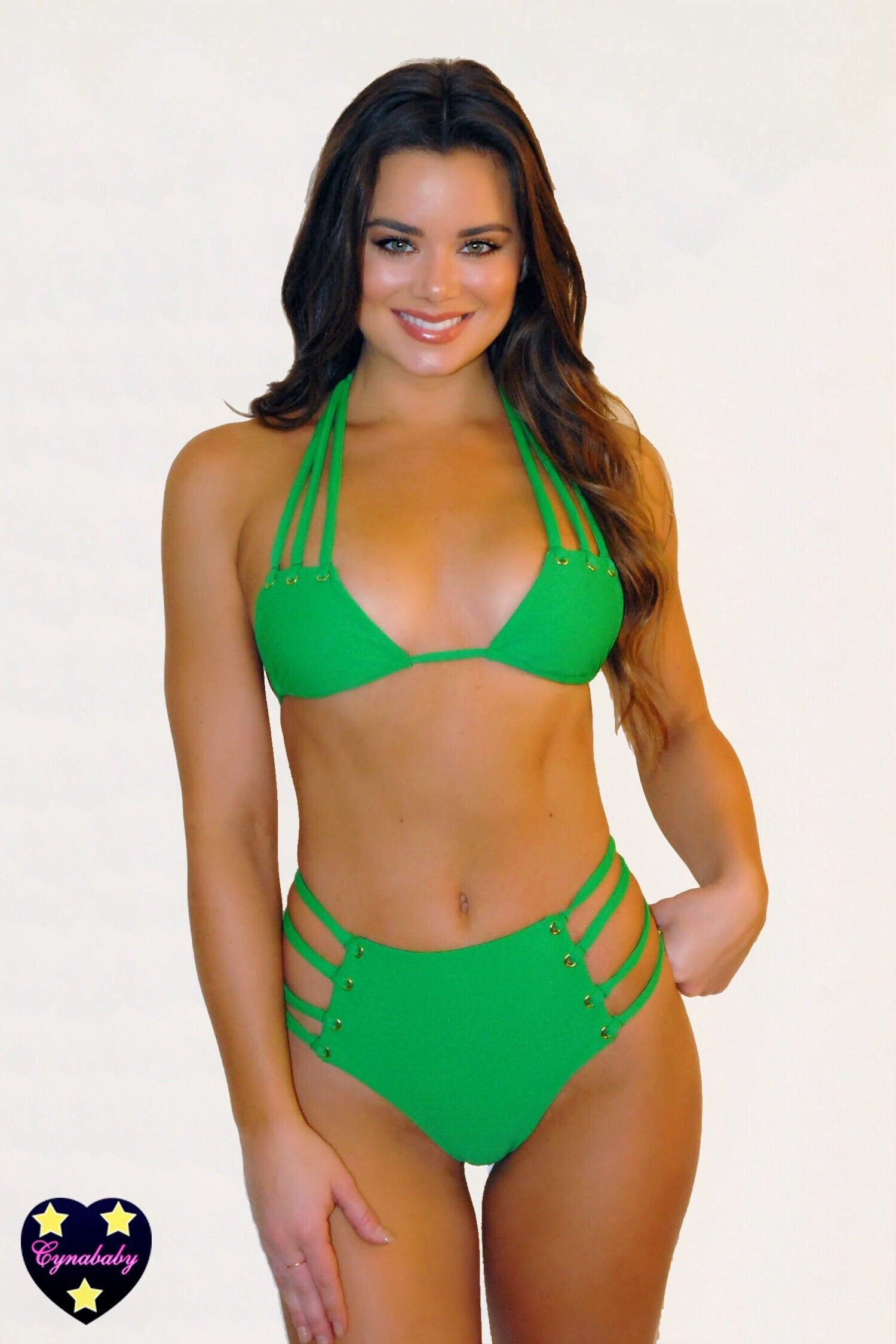 High Waist Strappy Eyelet Swimsuit Set - Kelly Green