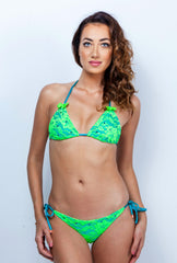 Lacy Bow Lace Swimwear - Jade Neon Green Lace Bikini