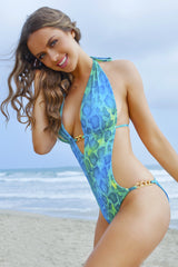 Miami One-Piece Swimsuit - Blue Reptile Custom Monokini