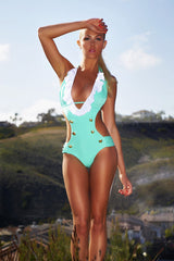 Ruffled Sailor One Piece Swimsuit - Seafoam Mint Green Monokini