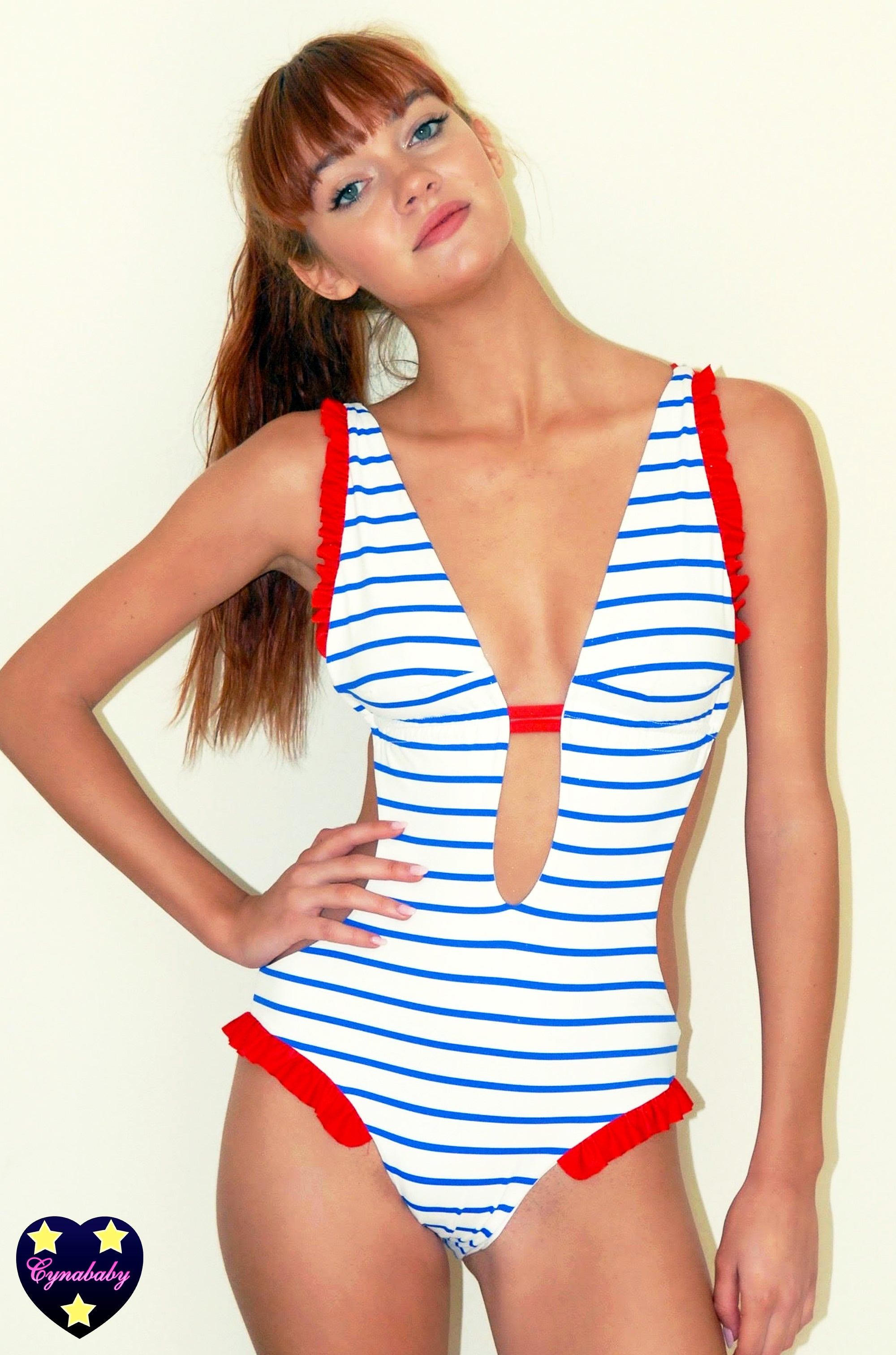 Custom Monokini One-Piece - Blue Nautical Stripe Red Frill Swimsuit