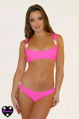 Swimsuit with Buckles - Neon Pink Tank Bikini Set