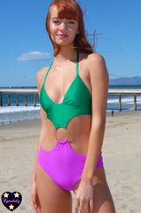 90s O Ring Colorblock Cut Out Monokini One Piece Swimsuit - Emerald and Magenta