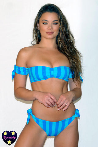 2019 Bandeau Off Shoulder Swimsuit Set - Blue Stripe