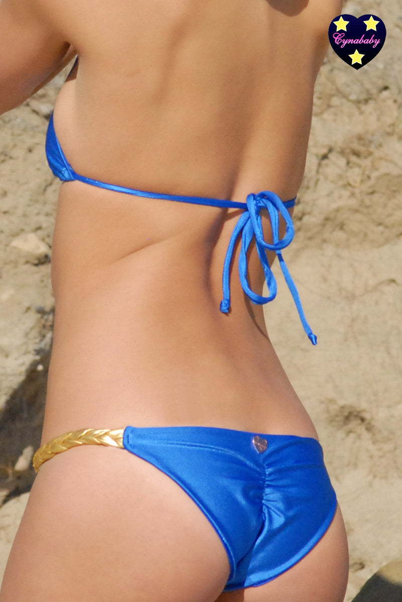 Goddess Braid Bikini - Royal Blue and Gold Swimsuit