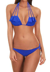 Strappy Ruffled Booty Bikini - Royal Blue