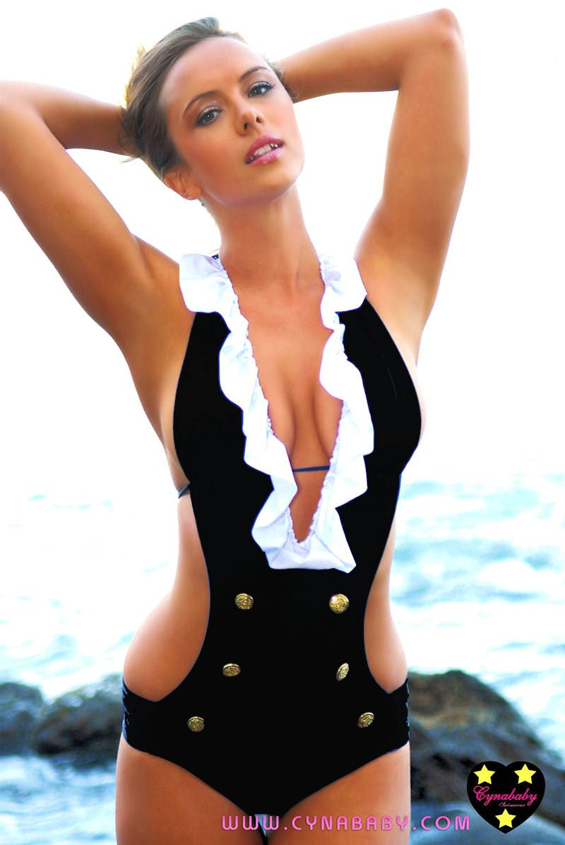 Ruffled Sailor One-Piece Black Monokini