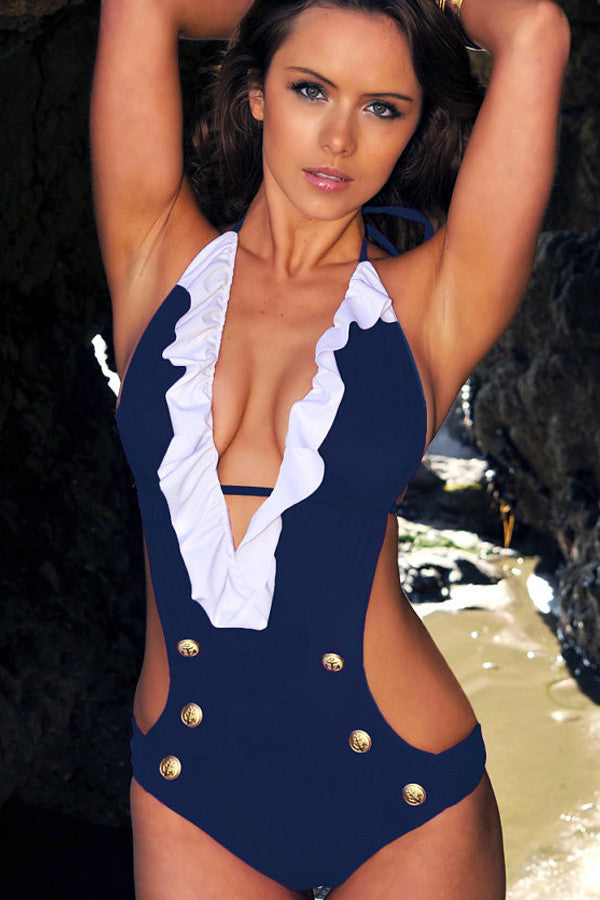Ruffled Sailor One Piece Swimsuit - Navy Blue Monokini