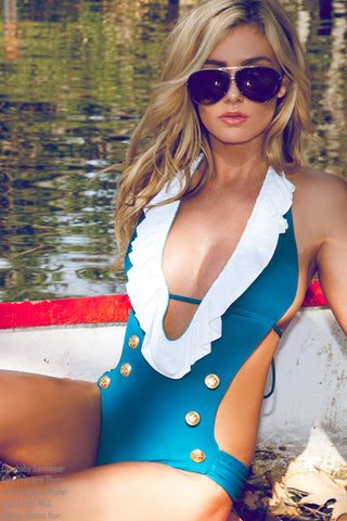 Ruffled Sailor One Piece Swimsuit - Mallard Teal Monokini