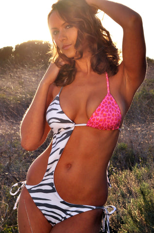 Safari One Piece Swimsuit - Zebra Asymmetrical Monokini