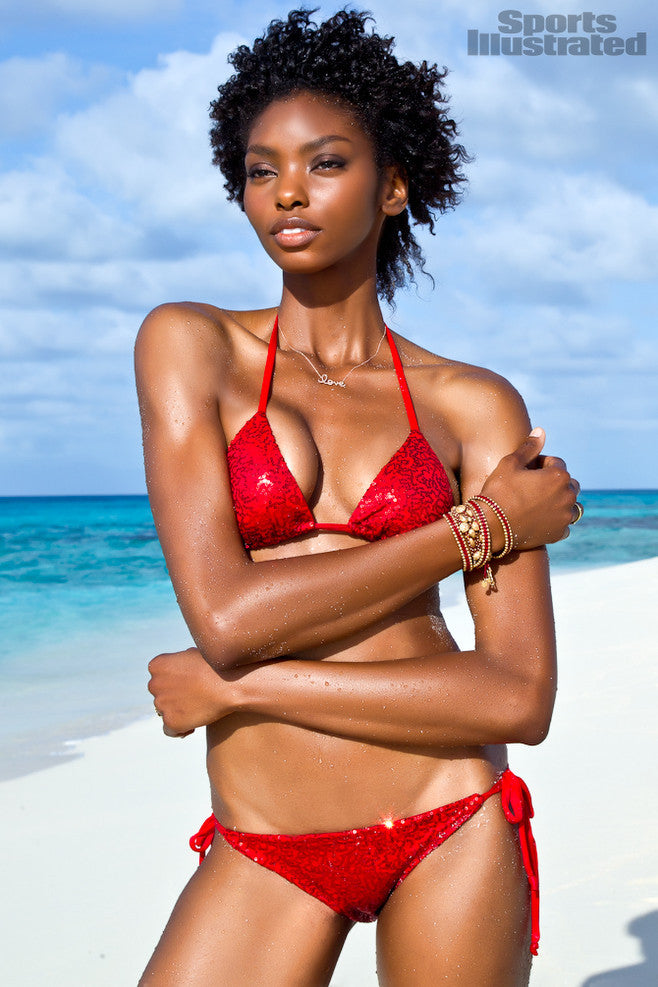 Shimmery Nights Designer Swimsuit - Red Sequin Bikini (SEEN ON SPORTS ILLUSTRATED)