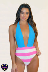 2019 High Waist Stripe Monokini - Hot Pink Turquoise One-Piece Swimsuit