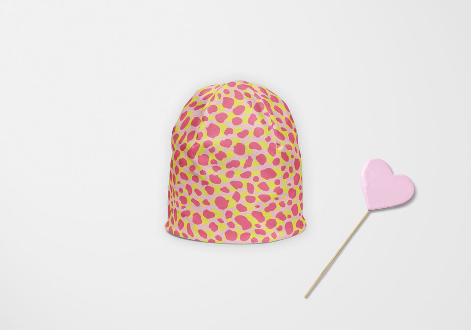 Pink Lime Leopard Beanie