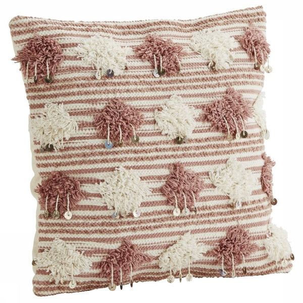 Cushion with pompons