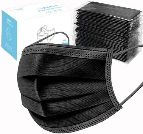 4 Ply Black Disposable Filtered Mask - 50 Pack