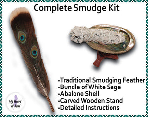 Complete Smudge Kit: Abalone Shell, Stand, Sage, Traditional Feather. Energy Cleansing.