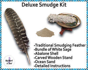 Deluxe Smudge Kit: Abalone Shell, Stand, Sage, Traditional Feather