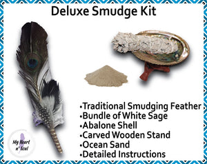 Deluxe Smudge Kit: Abalone Shell, Stand, Sage, Ocean Sand, Traditional Feather