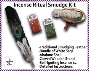 Complete Smudge Kit: Abalone Shell, Stand, Sage, Traditional Feather, Dragon's Blood and Money Incense Ritual