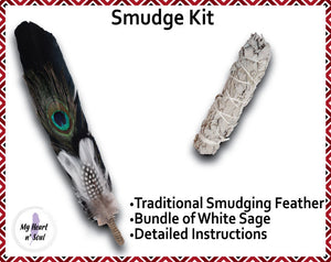 Smudge Kit: Black feather and Sage. Blue Accent. Cleansing Energy.