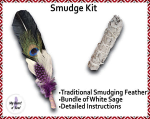 Smudge Kit: Black feather and Sage. Green Accent. Cleansing Energy.
