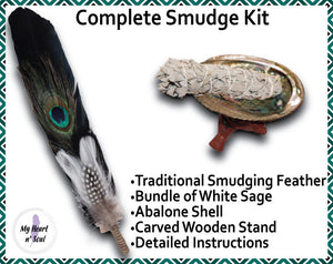 Complete Smudge Kit: Abalone Shell, Stand, Sage, Traditional Black Feather. Clear Bad Energy