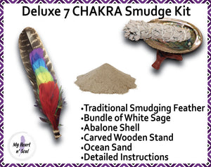 Deluxe 7 CHAKRA Smudge Kit: Abalone Shell, Stand, Ocean Sand, Sage, Candle, Traditional Feather for cleansing energy