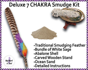 Deluxe 7 CHAKRA Smudge Kit: Abalone Shell, Stand, Ocean Sand, Sage, Traditional Feather for cleansing energy