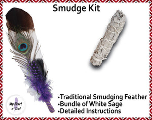 Smudge Kit: White/Brown tip Feather. Energy, Home, Cleansing Clearing kit. Purple Accent.
